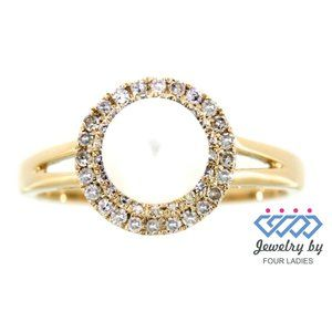 Solid Diamond Halo Pearl Ring Jewelry Yellow Gold